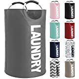 Gorilla Grip Large Laundry Basket, Collapsible Fabric Hamper, Padded Handles, Tall Foldable Clothes Baskets, Durable Linen Bins, Easy Carry Bags, Hampers for Kids Bedroom, College Dorms, 82L, Gray
