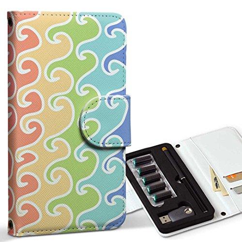 スマコレ ploom TECH プルームテック 専用 レザーケース 手帳型 タバコ ケース カバー 合皮 ケース カバー 収納 プルームケース デザイン 革 チェック・ボーダー カラフル 模様 005923