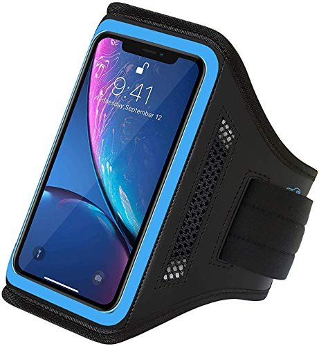 LOVPHONE iPhone 13/13 Pro/iPhone 12/12 Pro/iPhone 11 Pro/11/iPhone XR Armband,Sport Running Workout Exercise Cell Phone Case with Holder & Card Slot,Fingerprint Sensor Access Supported (Rose)