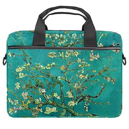 LORVIES Van Gogh Blossoming Mandorle borsa a tracolla per computer portatile da 14 a 15,4 pollici