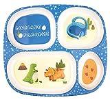 Set di piatti per bambini, stoviglie per bambini che nutrono un piatto diviso, senza BPA, adatto agli alimenti ed ecologico (Blue)