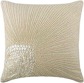 Écru Oreillers Décoratifs Couvercle, Plume De Paon Mother Of Pearls, taies d'oreiller 35x35 cm, Cotton Linen Couverture D'...