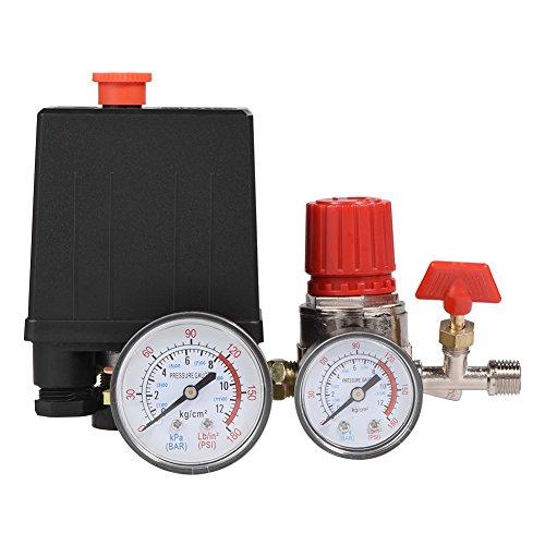 Luftkompressorventil, Yevenr 2-G1/4 Kleines Luftkompressor-Steuerventil Luftkompressor-Druckschalter Druckschalter-Steuerventil mit Messgeräten