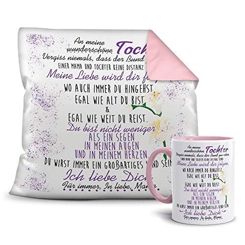 Geschenkset von der Mama für die Tochter - Tasse und Kissen - Altrosa/Verwandte/Geschenk-Idee/Liebling/Familie