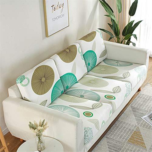 Fundas de cojín de asiento de sofá, fundas de cojín de reemplazo, fundas de cojín flexibles elásticas para cojines individuales (tamaño grande, 4 plazas, hoja de loto)