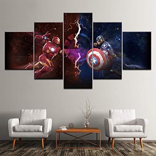 ZDDBD Lienzo Cuadros de Arte de Pared Decoración para el hogar Marvel Avengers Alliance Capitán América Iron Man Pinturas para Sala de Estar Impresión HD Personajes de películas Carteles Obra de Arte