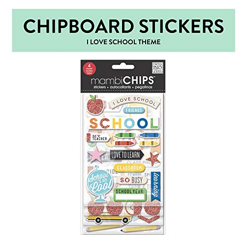 Me & My Big Ideas mambiChips Chipboard Stickers - Scrapbooking Supplies - I Love School Theme - Metallic Glitter & Multi-Color - Great for Projects, Scrapbooks & Albums - 4 Sheets, 83 Stickers Total