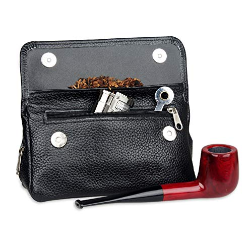 Genuine Leather Smoking Tobacco Pipe Pouch Case Bag for 2 Pipes Tamper Filter Tool Cleaner Preserve Freshness (Black)