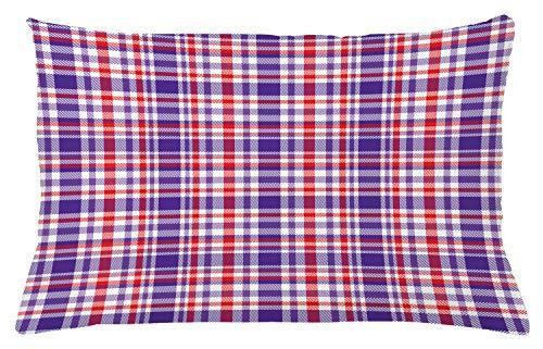 ABAKUHAUS Schotse ruit Sierkussensloop, Abstract Bicolour Chequered, Decoratieve Vierkante Hoes voor Accent Kussen, 65 cm x 40 cm, Vermilion Quartz White