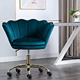 Modern Swivel Desk Chair Accent Velvet Office Chair, Adjustable Armchair Single Sofa with 360 Degree Castor Wheels (Teal)