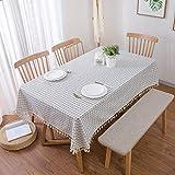 Huldoro Tischdecke Baumwolle und Leinen Mittelmeer-weiß karierten Tischtuch blau...