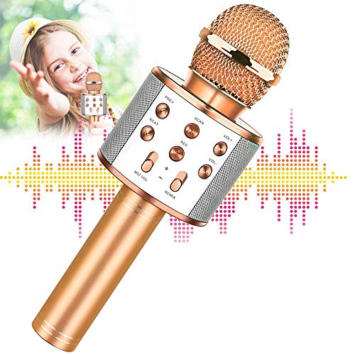 Karaoke Microphone for Kids, Wireless Bluetooth Karaoke Microphone, Machine Microphone with MP3 3-12 Year Old Boys Girls Birthday Gifts Hot Toys for Adults Birthday Party KTV Christmas (blue) (yellow)