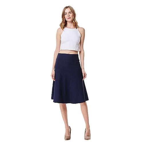 9323f8228ec9 MoDDeals Women's High Waist A-line Below The Knee Flared Midi Skirt Stretch  Woven and