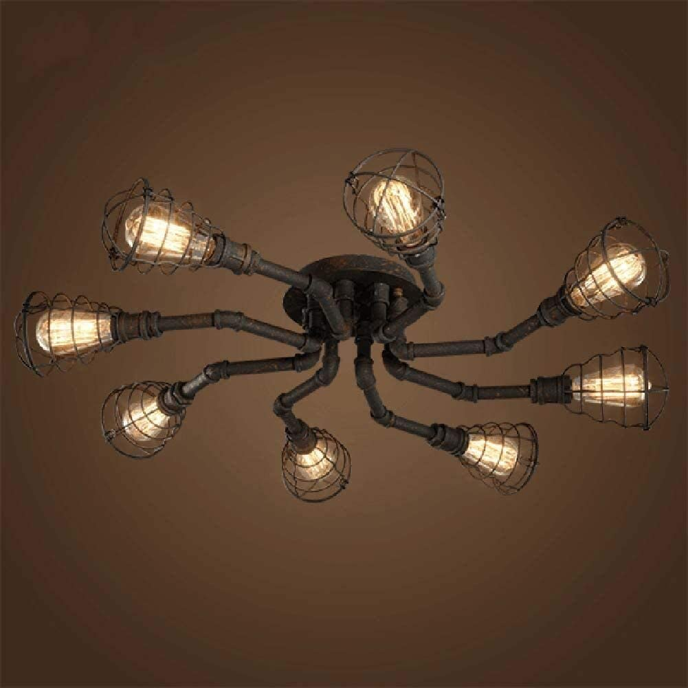 8 Lights Industrial Cage Pipe Rustic Limited price Light-LITFAD Popular Retro Ceiling