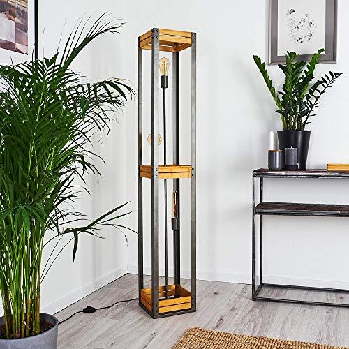 Stehlampe Apia, Stehleuchte aus Metall/Holz in Silber/Braun, 3-flammig, 3 x E27-Fassung max. 10 Watt, Vintage Leuchte mit Fußschalter am Kabel, LED geeignet