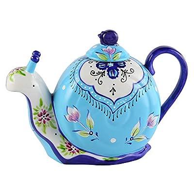 D'oramie Porcelain Tea Kettle Decorative,Stylish Design Animal Shaped Teapot,Ceramic Teapot Kitchen Art Teaware, Snail Design Coffee Pot with Handpainted for 40 Ounce (1200 ml) (blue)