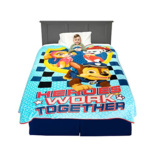 "Franco A45628 Kids Bedding Super Soft Plush Blanket, Twin/Full Size 62"" x 90"", Paw Patrol Blue"