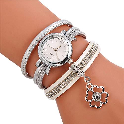 SANDA Relojes Hombre,Reloj de Pulsera de Cuero Trenzado Círculo sinuoso Conjunto Diamante Reloj británico Reloj Colgante de Flores-Blanco