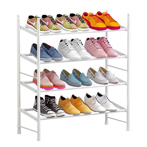 MICEROSHE Zapatero Conveniente Rack de Zapatos apilables de 3 Capas, Estante de Zapatos expandible y Ajustable Regalos para el Hogar (Color : Blanco, Size : (60-110) X22x69cm)