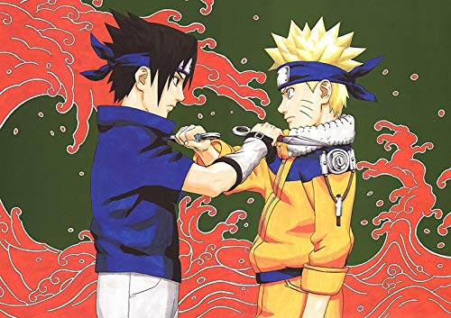 Totots Puzzle de madera de anime para Uchiha Sasuke, Rompecabezas impreso 3D Uzumaki Naruto, Puzzle de descompresión de adultos, Puzzle recreativo de Naruto, juego de rompecabezas interactivo para pad