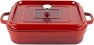 G.E.T. Enterprises Red with Black Interior 5 qt. Induction Ready Rectangular Roaster with Lid Cast Aluminum Heiss Collection CA-010-R/BK (Pack of 1)