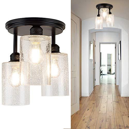 Depuley Lámpara LED de techo de 3 focos, de cristal, moderna, vintage, diseño retro, casquillo E27, perfecta para salón, cocina, dormitorio (sin bombilla), color negro