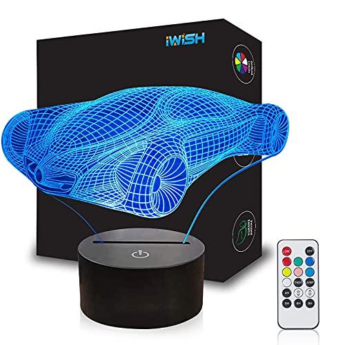 iwish Lámpara de noche LED 3D de 7 colores cambiantes mágica lámpara de ilusión 3D para la decoración del hogar de la habitación de los niños (nuevo coche de carrera)