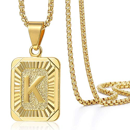 Trendsmax Initial Letter Pendant Necklace for Mens Womens Gold Plated Letter K Pendant Necklace Stainless Steel Box Link Chain 22inch