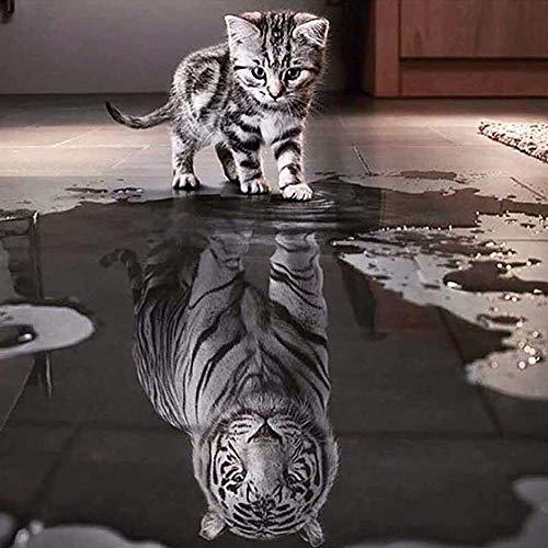 GJYAC Pintura diamante 5D diy diamante pintura diamante tigre animal dimaond bordado tigre gato diamante pintura mosaico taladro completo gato tigre