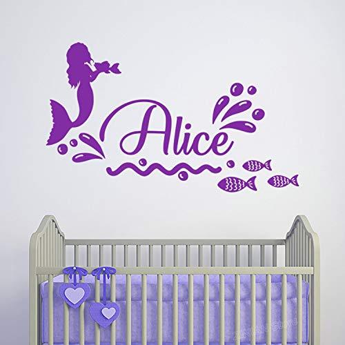 Wopiaol Mooie zeemeermin sticker met naam Muurtattoos voor kinderkamer kleine kinderkamer meisjes kamer muur decoratie sticker