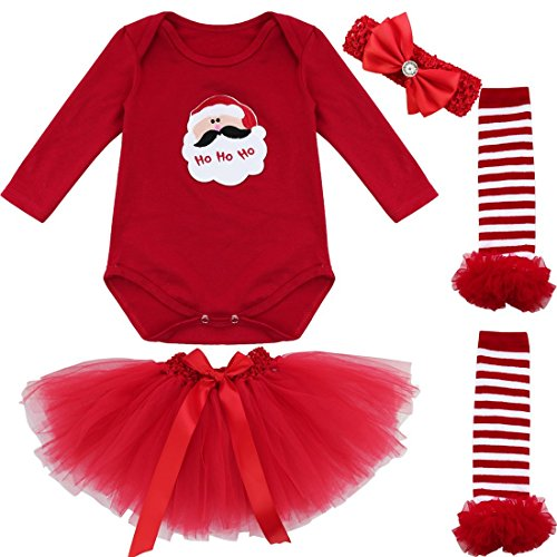 Freebily Conjunto de Navidad para Bebé Niña Pelele Body Falda Plisada Disfraz Vestido de Princesa Fiesta para Recién Nacido Papá Noel 6-9 Meses
