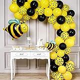 PartyWoo Ballons Abeille, 72 pcs Foil Ballon Abeilles, Ballon Noir, Ballon Pois Noir, Ballons Jaune et Noir, Ballon Noir Jaune pour Anniversaire Abeille, Anniversaire Enfant, Decoration Bapteme Jaune
