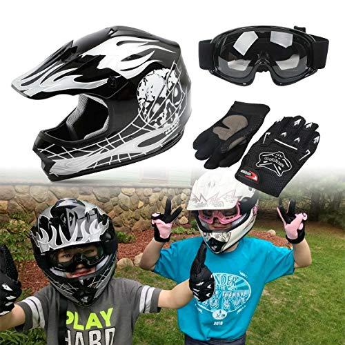 SLMOTO Dot Youth Kids Helmet Motocross Offroad Street Helmet Motorcycle Helmet Dirt Bike Motocross ATV Black Skull Design Helmet+Goggles+Gloves