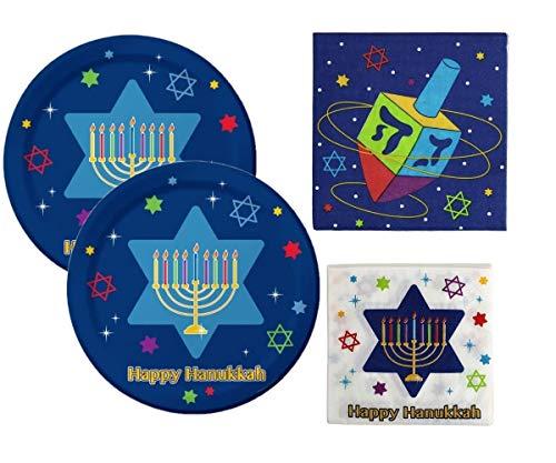 Hanukkah Paper Plates and Napkins Set - Chanukah Party Plate Set - Hanukkah Festivities Plates & Napkins - Serves 16
