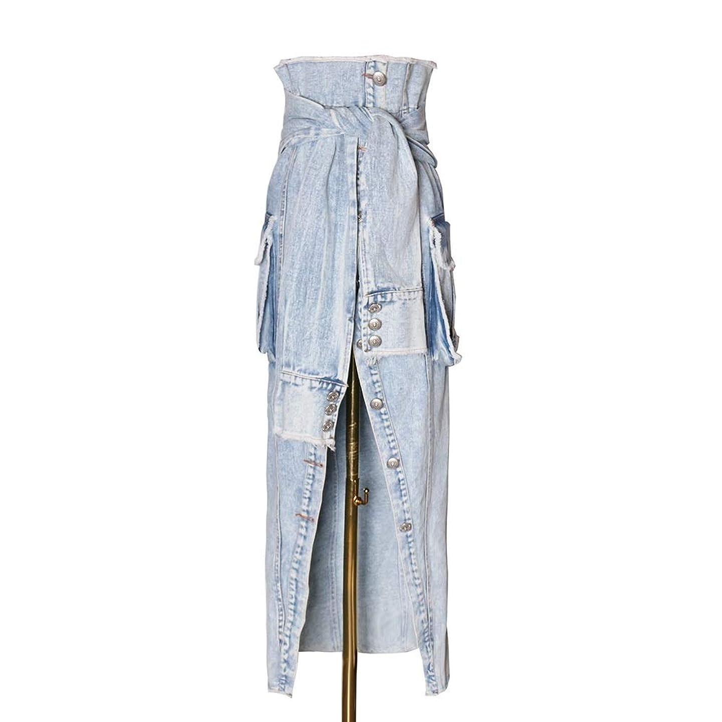 見落とすながらいまデニムスカート タイトスカート 女性のファッション不規則なホワイトエッジング大型ポケットハイウエストロングスカート 柔らか ストレッチ (Color : Blue, Size : L)