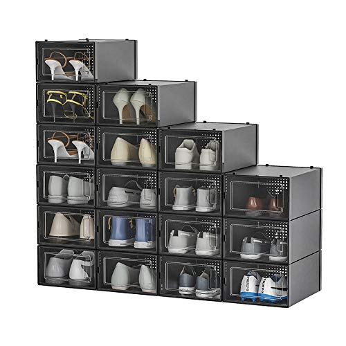 Pellebant 18 Pack Stackable Shoe Storage Boxes Foldable Plastic Shoe Organizer for Closets Entryway Shoe Rack Clothing Rack Bed Easy Assembly SmallBlack