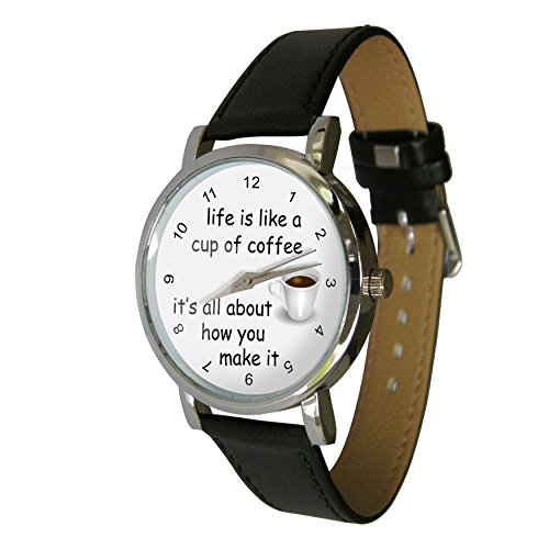 Life is Like a Cup of Coffee Design Watch with a Genuine Leather Strap