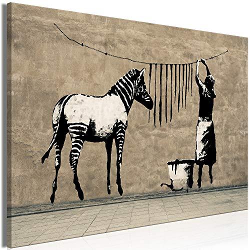 murando - Bilder Banksy Washing Zebra Stripes 120x80 cm Leinwandbild 1 TLG Kunstdruck modern Wandbilder XXL Wanddekoration Design Wand Bild - Graffiti Street Art Tiere Straßenkunst i-C-0151-b-a