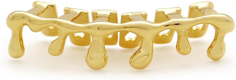 LuReen Teardrop Bottom Grillz 6 Teeth Lower Teeth Drip Cap Grillz for Men Women