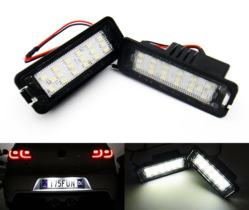 2 lampes d'éclairage de plaque d'immatriculation LED Blanc Canbus