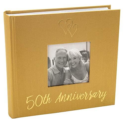 Happy Homewares Álbum de Fotos del 50 Aniversario de Bodas de Oro con Doble decoración de corazón