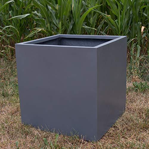 Elegant Einrichten Blumenkübel Fiberglas anthrazit metallic quadratisch 60x60x60cm