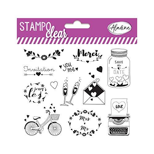 Aladine - Stampo Clear Mariage - Tampons Transparents Créatifs - DIY et Scrapbooking - Placement Précis des Motifs - Planche de 12 Tampons en Silicone