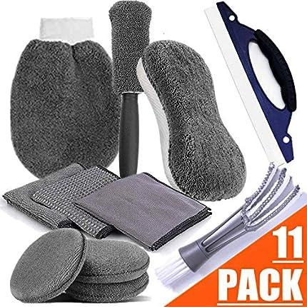 bangminda STARPIA 11PCS Kit de Limpieza de Coche Set de Lavado de Auto, Esponja/3 Paños/Cepillo para Llantas/Guante/3 Almohadillas para Vaho/Limpiador de Parabrisas/Cepillo de Ventilación