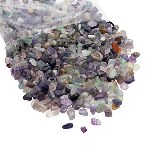Crushed Quartz Chips, Vase Filler, Resin Art, Decorative Bowl Pebbeles, Tumbled Craft Gemstones, Reiki Healing Jewels, 1 LB, Flourite
