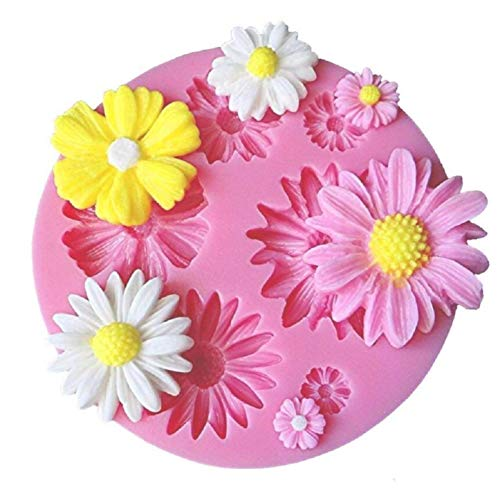 KIRALOVE Molde de Silicona en Forma de 6 Flores - Bricolaje - hágalo Usted Mismo - Hobby - moldes - Molde para Uso Artesanal