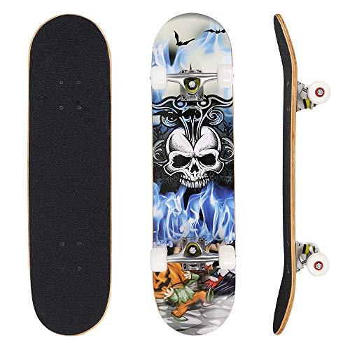OUTCAMER 79 cm Skateboard, Anfänger Skateboards für Kinder und Erwachsene geeignet, Komplett montiertes Board aus kanadischem Ahornholz in 7 Schichten hergestellt, Max. Belastbarkeit 100KG