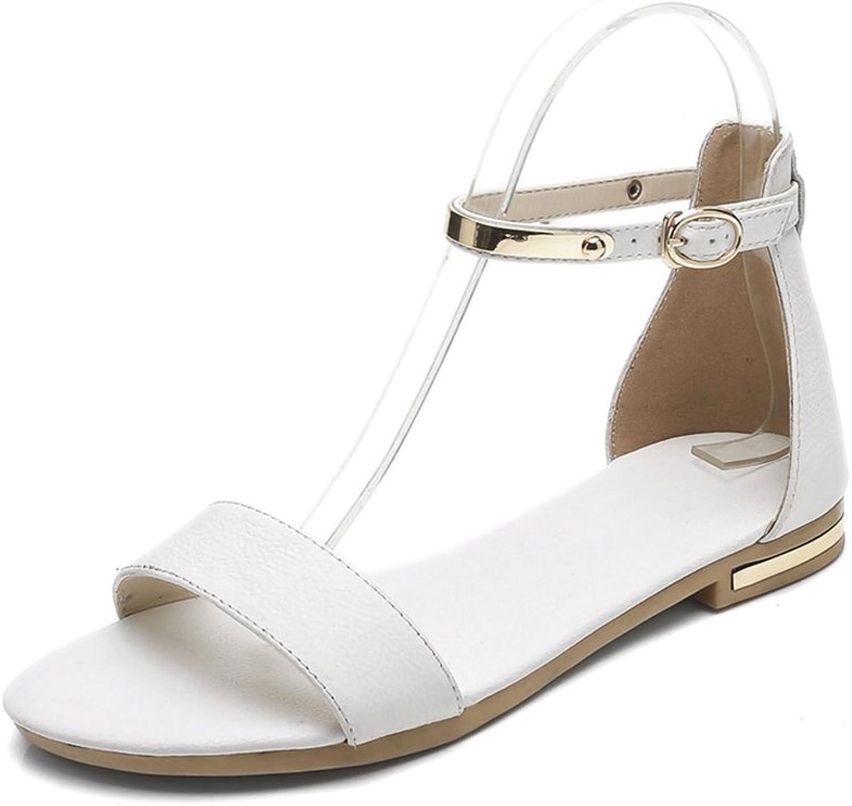 GIY Women's Fashion Metallic Flat Sandals Open Toe Comfort Sparkly Summer Beach Dress Walking Sandals