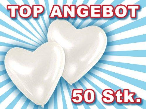 Alsino, hartvormige ballonnen, ballonnen, hartballonnen, bruiloft, feest, verjaardag, wit, 50 stuks