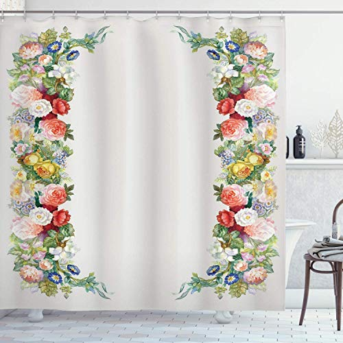 ANYYT Victorian Shower Curtain Rose Garland Pastel Tone Jasmine Bouquet Pattern 3D Printed Shower Curtain Waterproof Polyester Material 72x72 inches Including 12 Hooks Bathroom Accessories